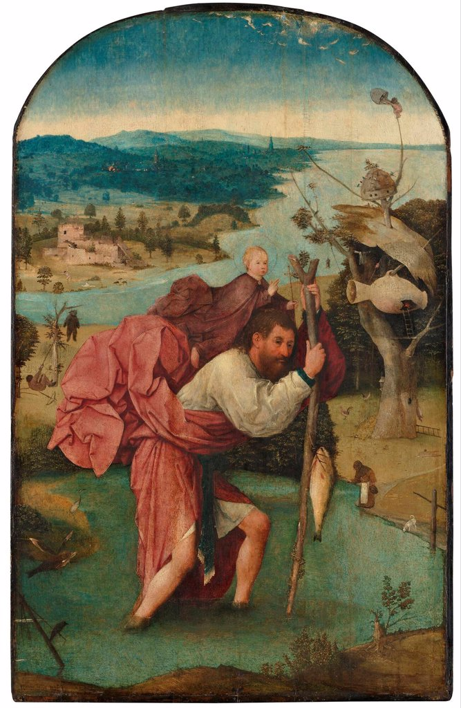 Stock Photo: 4266-26537 Saint Christopher by Bosch, Hieronymus (c. 1450-1516) \ Museum Boijmans Van Beuningen, Rotterdam \ 1490s \ The Netherlands \ Oil on wood \ Painting \ Bible