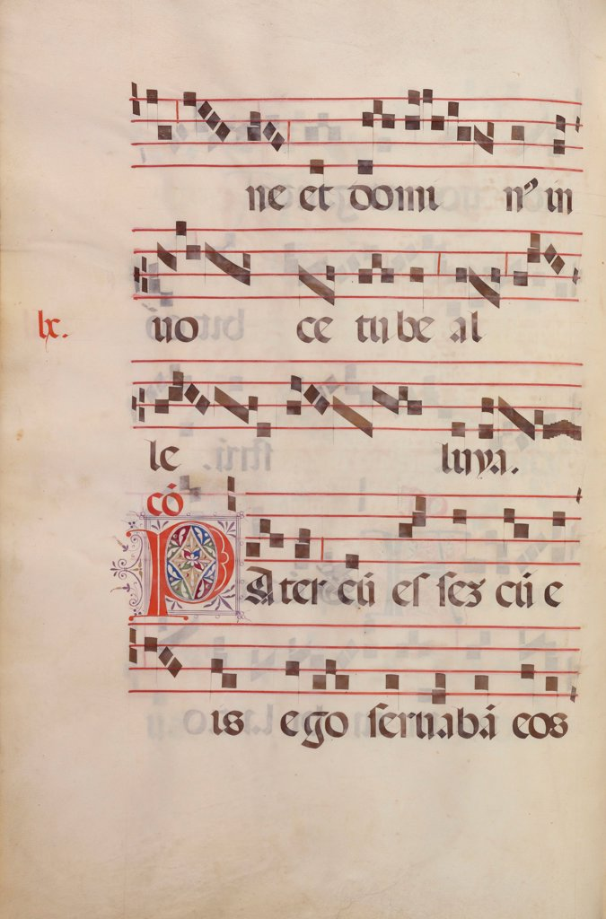 Stock Photo: 4266-26543 The Gradual. Initial P by Antonio da Monza (active 1480-1505) \ J. Paul Getty Museum, Los Angeles \ c. 1500 \ Italy, School of Lombardy \ Tempera and gold on parchment \ Book Art \ Music, Dance,Bible