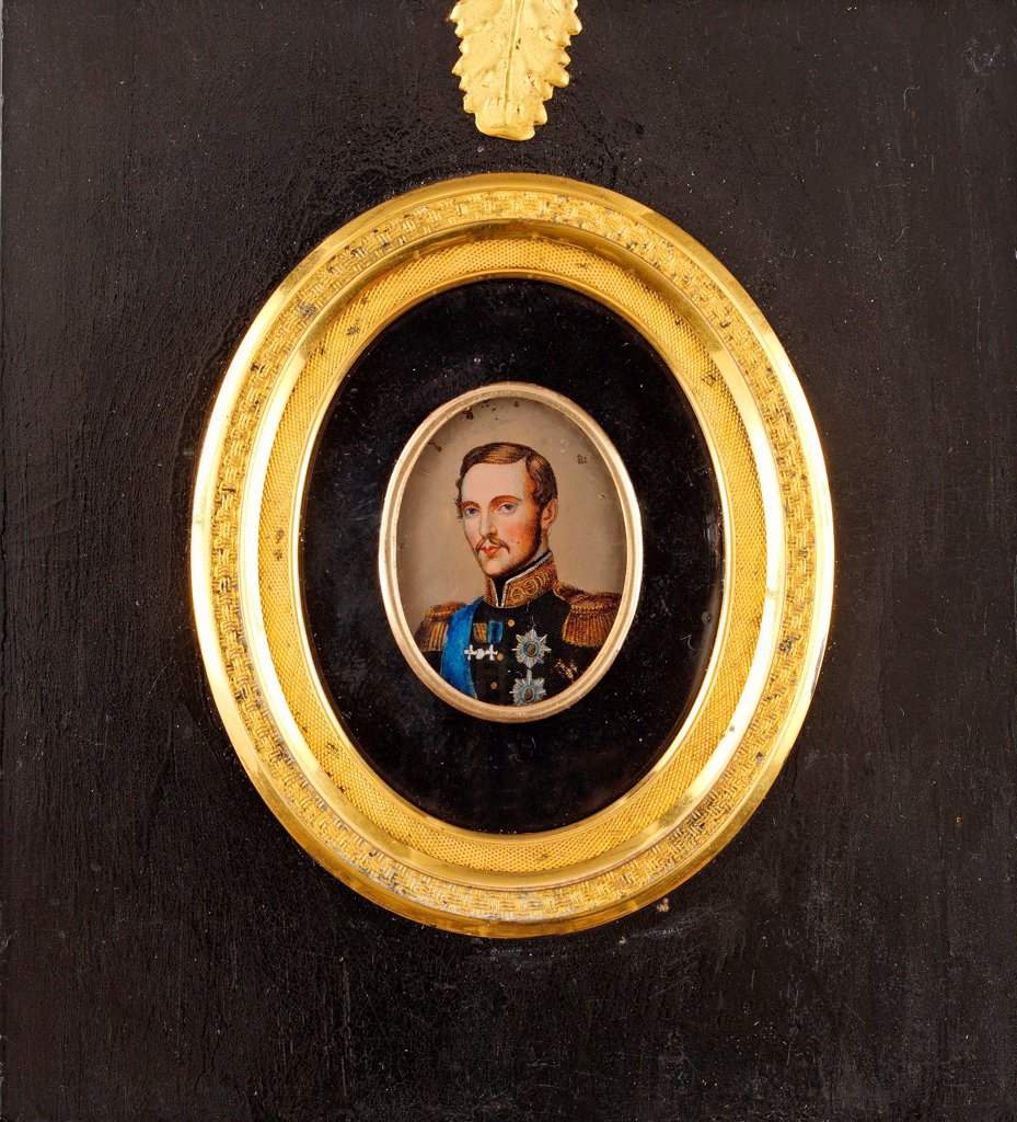 Stock Photo: 4266-26643 Portrait of Emperor Alexander II (1818-1881) by Anonymous   \ Private Collection \ 1840s \ Gouache on Porcelain \ Painting \ Portrait