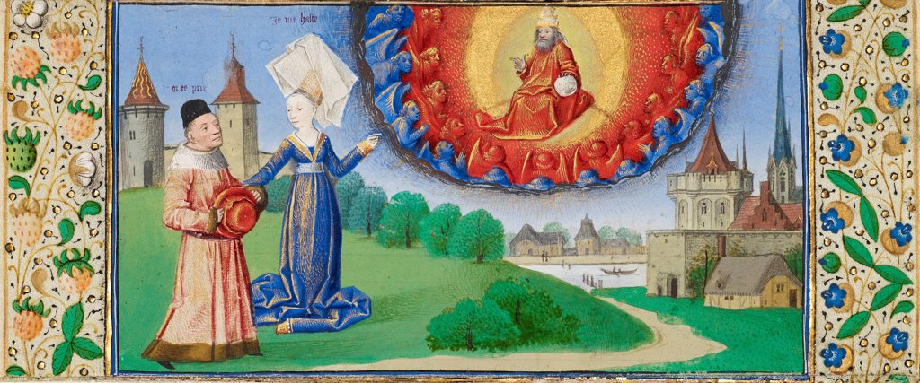 Philosophy Instructing Boethius on the Role of God by Coetivy Master (active c. 1450-1485) \ J. Paul Getty Museum, Los Angeles \ ca 1465 \ France \ Tempera and gold on parchment \ Book Art \ Mythology, Allegory and Literature,History : Stock Photo