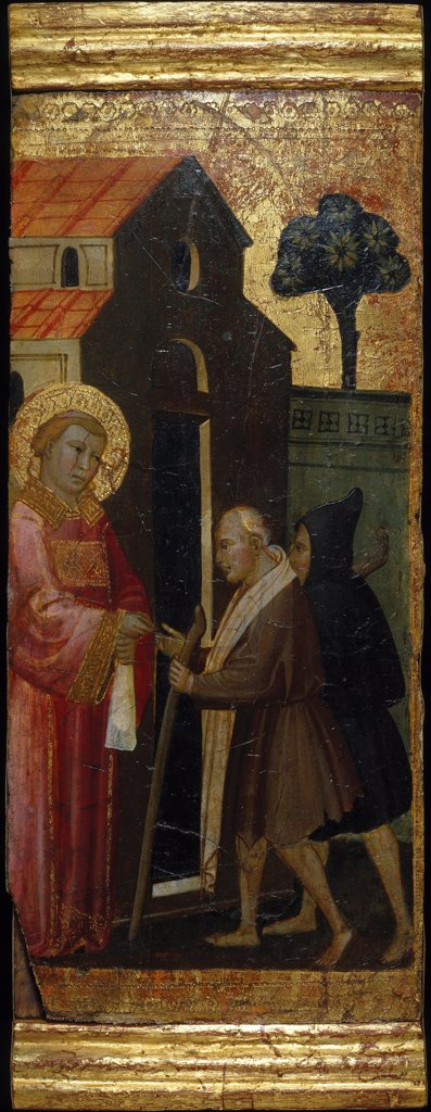 Stock Photo: 4266-26659 Saint Lawrence Distributing Alms to the Poor. Scenes from the Life of Saint Lawrence, predella by Lorenzo di Niccolo (active 1391-1414) \ Brooklyn Museum, New York \ ca 1412 \ Italy, Florentine School \ Tempera on panel \ Painting \ Bible