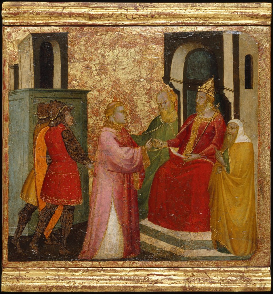 Saint Lawrence Arraigned Before the Emperor Valerian. Scenes from the Life of Saint Lawrence, predella by Lorenzo di Niccolo (active 1391-1414) \ Brooklyn Museum, New York \ ca 1412 \ Italy, Florentine School \ Tempera on panel \ Painting \ Bible : Stock Photo