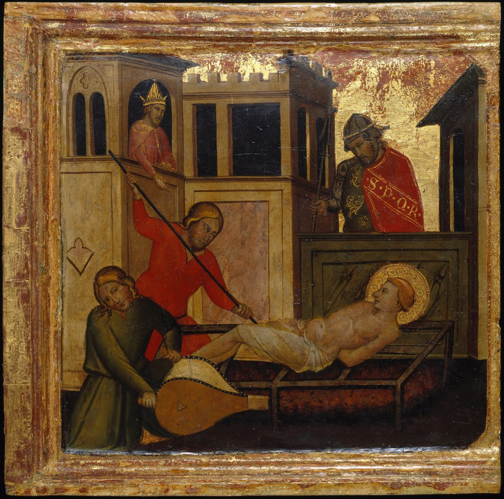 Stock Photo: 4266-26661 The Martyrdom of Saint Lawrence. Scenes from the Life of Saint Lawrence, predella by Lorenzo di Niccolo (active 1391-1414) \ Brooklyn Museum, New York \ ca 1412 \ Italy, Florentine School \ Tempera on panel \ Painting \ Bible