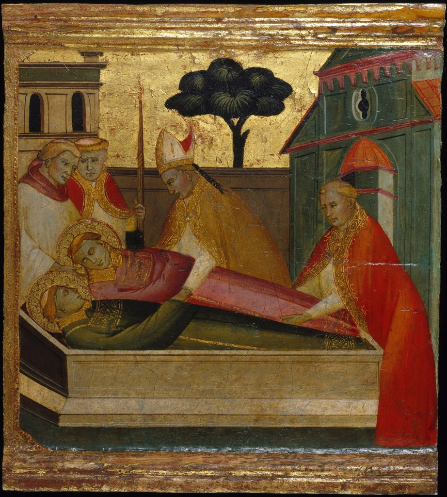 Stock Photo: 4266-26664 Saint Lawrence Buried in Saint Stephens Tomb. Scenes from the Life of Saint Lawrence, predella by Lorenzo di Niccolo (active 1391-1414) \ Brooklyn Museum, New York \ ca 1412 \ Italy, Florentine School \ Tempera on panel \ Painting \ Bible