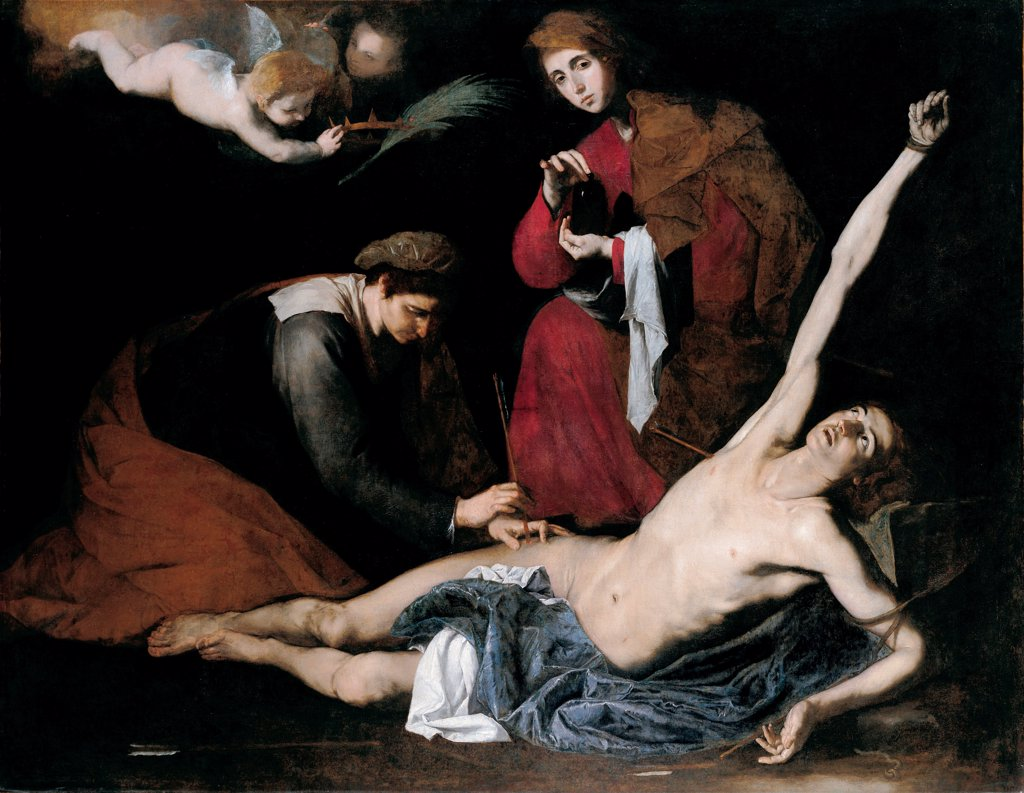 Stock Photo: 4266-26715 Saint Sebastian Tended by the Holy Women by Ribera, Jose, de (1591-1652) \ Museo de Bellas Artes de Bilbao \ c. 1621 \ Spain \ Oil on canvas \ Painting \ Bible