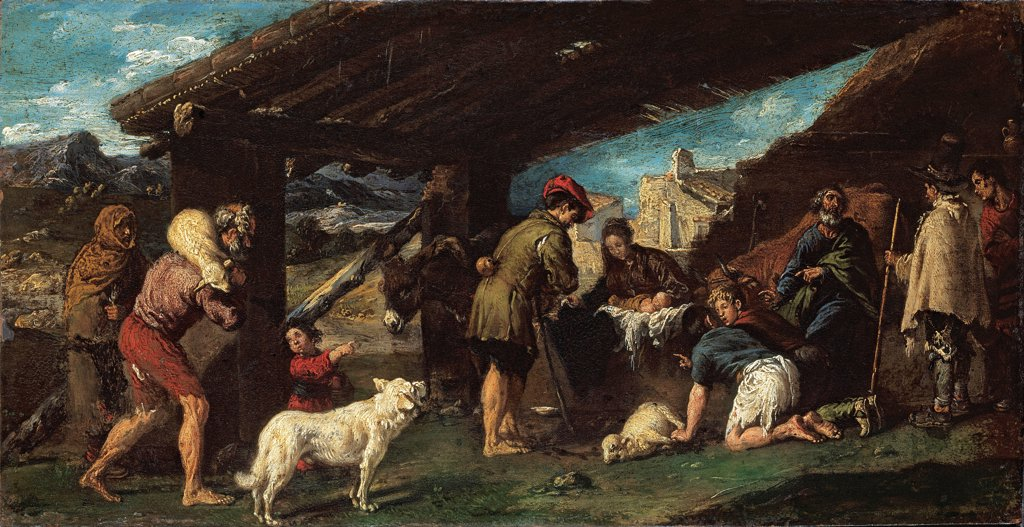 Stock Photo: 4266-26716 The Adoration of the Shepherds by Ribalta, Juan (1597-1628) \ Museo de Bellas Artes de Bilbao \ c. 1620 \ Spain \ Oil on copper \ Painting \ Bible