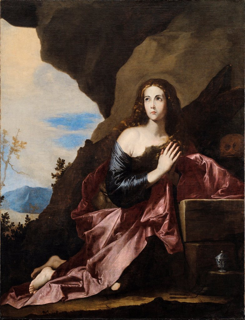Stock Photo: 4266-26719 Mary Magdalene Penitent by Ribera, Jose, de (1591-1652) \ Museo de Bellas Artes de Bilbao \ 1637 \ Spain \ Oil on canvas \ Painting \ Bible