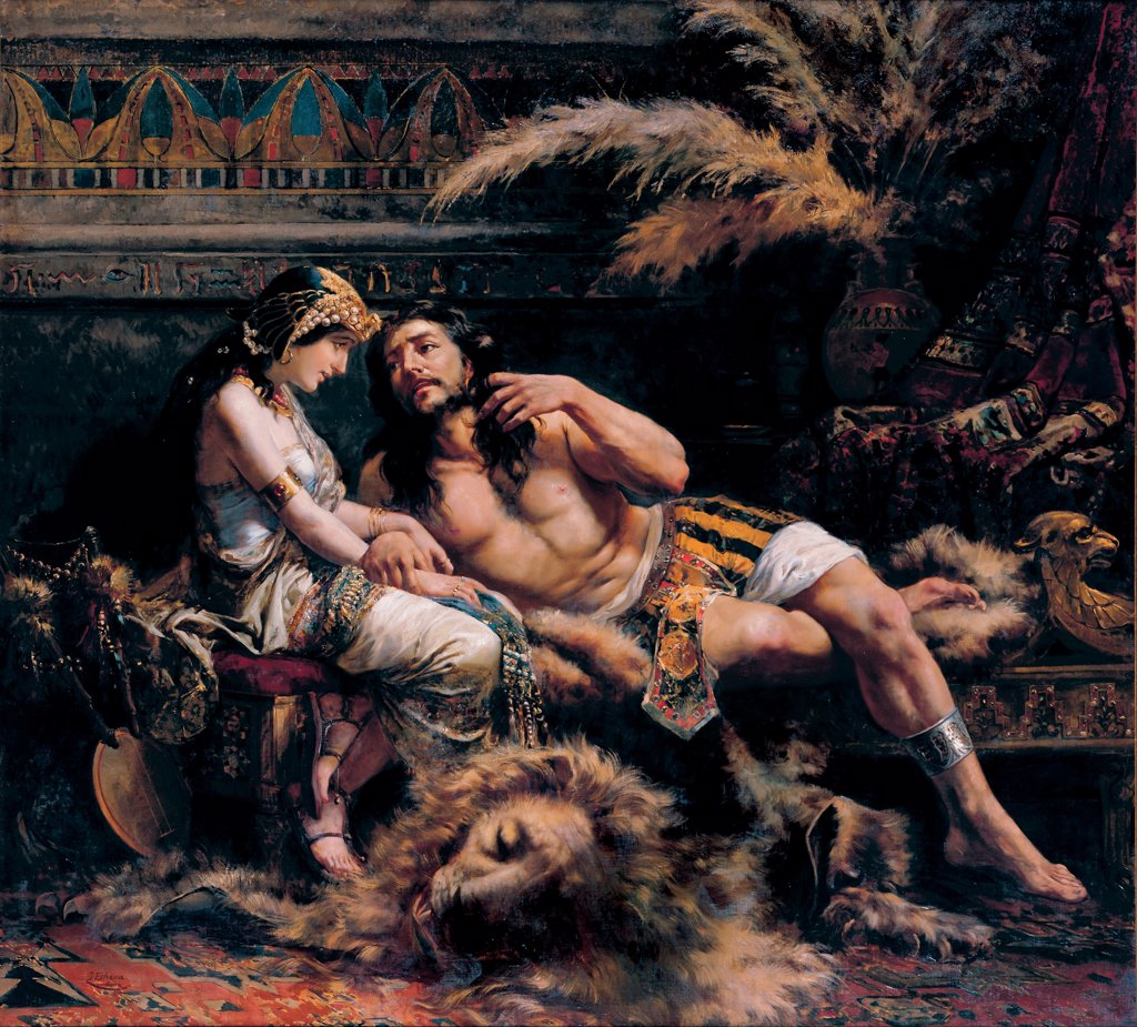 Samson and Delilah by Echenagusia Errazquin, Jose (1844-1912) \ Museo de Bellas Artes de Bilbao \ 1887 \ Spain \ Oil on canvas \ Painting \ Bible : Stock Photo