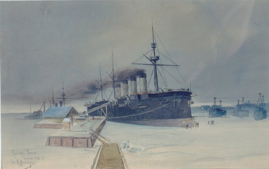 Stock Photo: 4266-26743 Armored cruiser Rossia by Isenberg, Konstantin Vasilyevich (1859-1911) \ State Central Navy Museum, St. Petersburg \ 1897 \ Russia \ Watercolour on cardboard \ Painting \ History