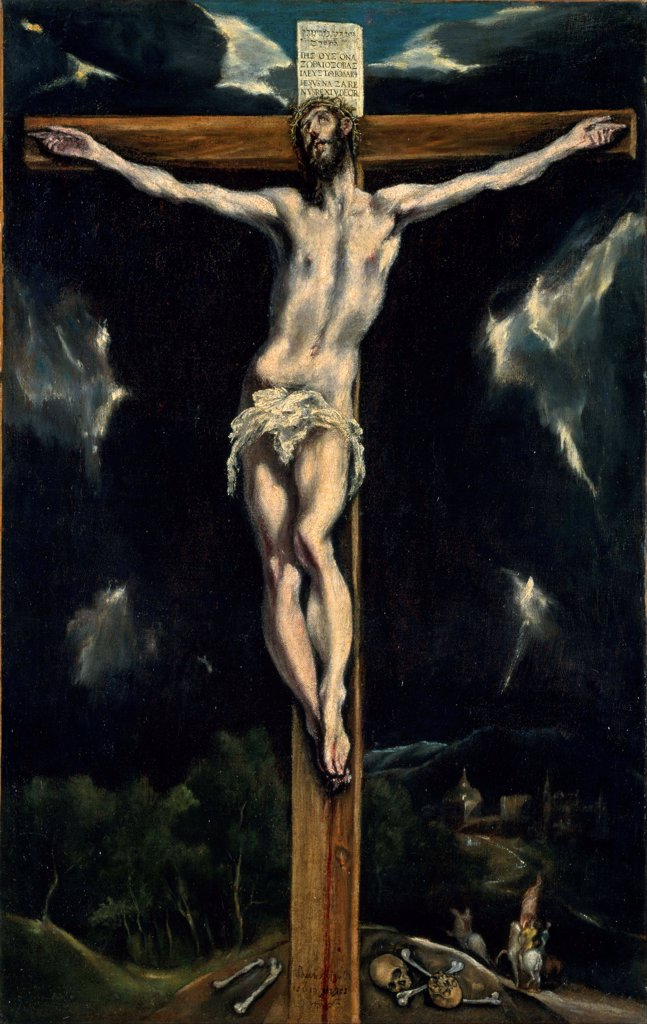 Stock Photo: 4266-26759 Christ on the Cross by El Greco, Dominico (1541-1614) \ National Museum of Western Art, Tokyo \ Spain \ Oil on canvas \ Painting \ Bible