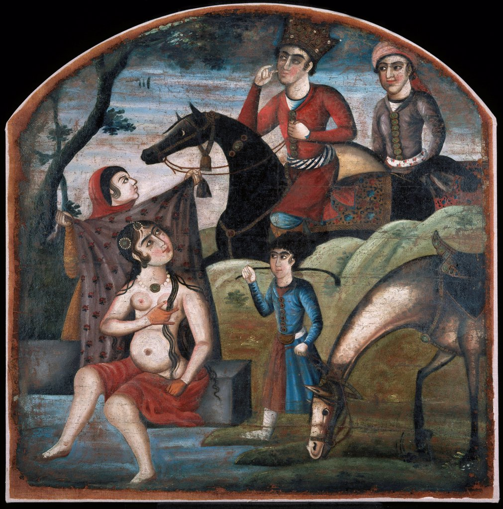 Stock Photo: 4266-26783 Khusraw Discovers Shirin Bathing. (From Pictorial Cycle of Eight Poetic Subjects) by Iranian master   \ Brooklyn Museum, New York \ Mid of the 18th cen. \ Iran, Zand dynasty \ Oil on canvas \ Painting \ Mythology, Allegory and Literature