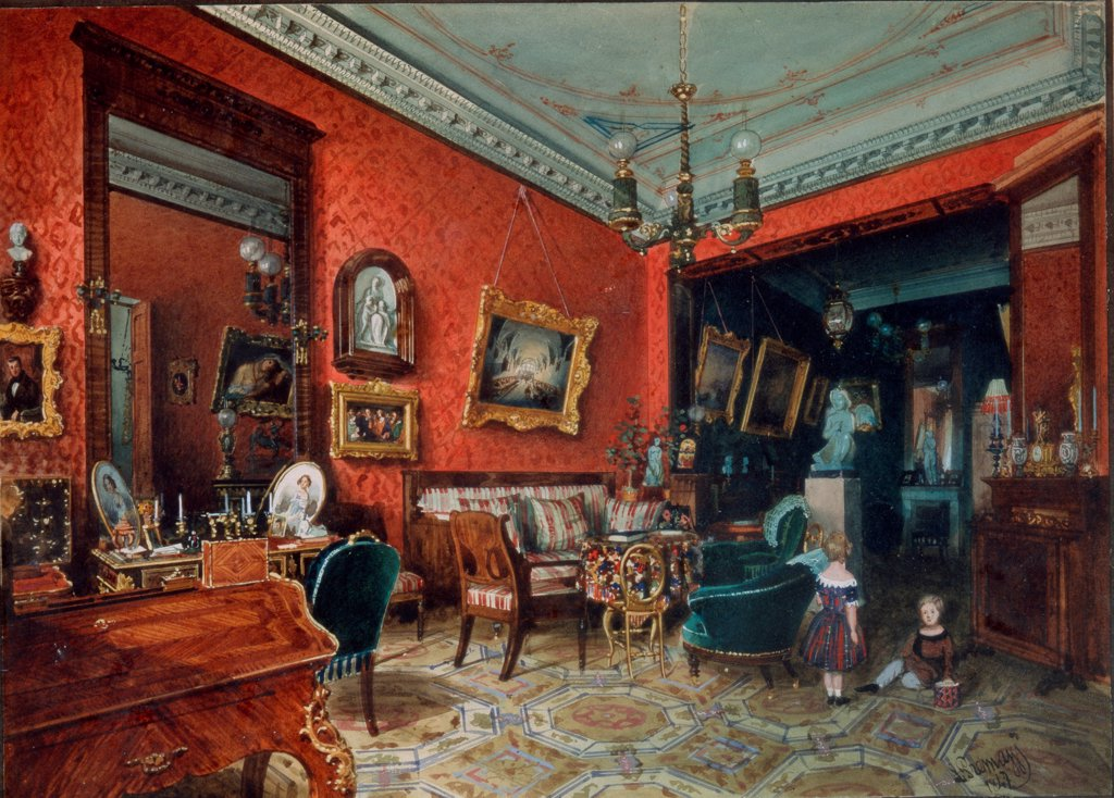 Stock Photo: 4266-26805 A living room by Premazzi, Ludwig (Luigi) (1814-1891) \ Private Collection \ 1840s \ Russia \ Watercolour on paper \ Painting \ Architecture, Interior