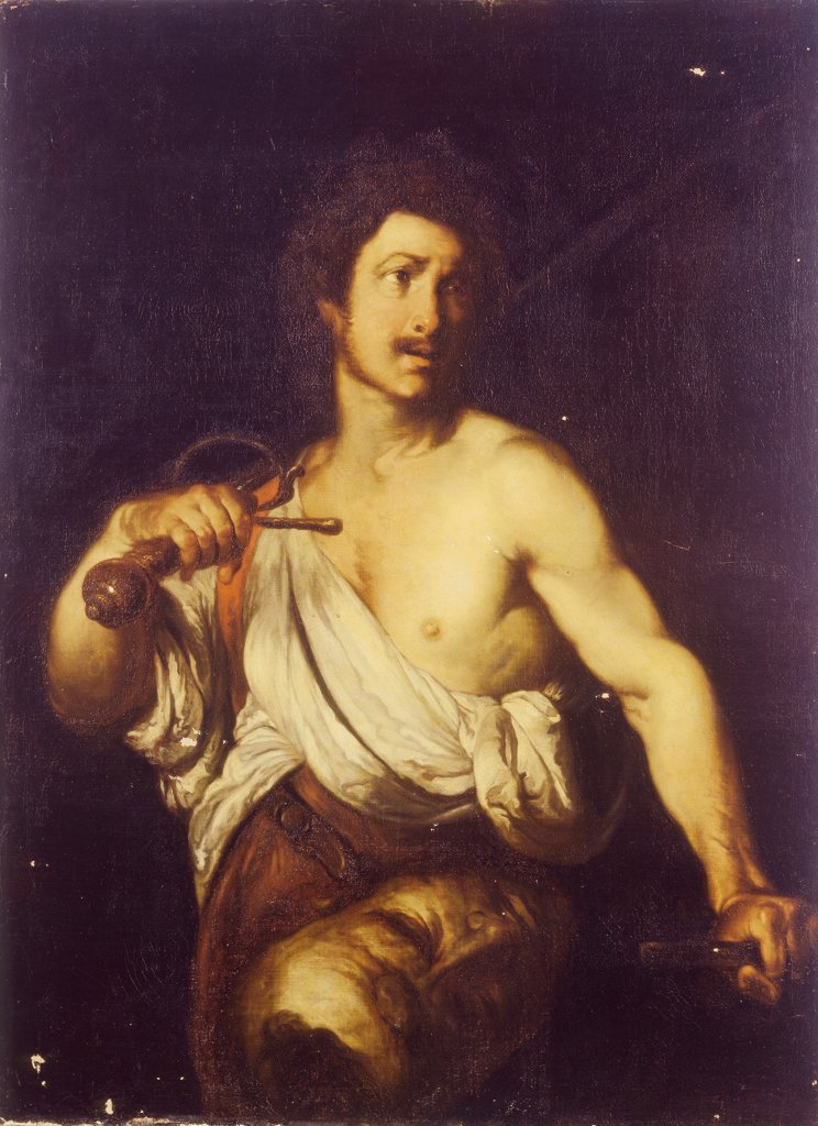 David with the Head of Goliath by Strozzi, Bernardo (1581-1644) \ State Hermitage, St. Petersburg \ c. 1635 \ Italy, School of Genoa \ Oil on canvas \ Painting \ Bible : Stock Photo