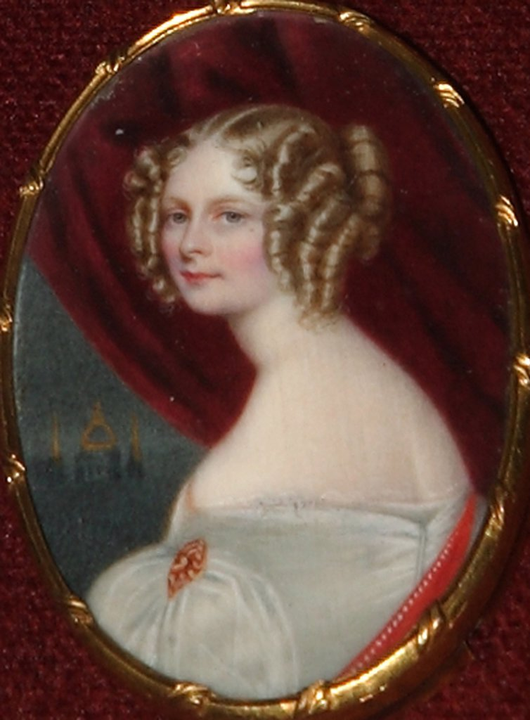 Stock Photo: 4266-2685 Portrait of Charlotte of Wurttemberg by Anonymous painter, watercolour on cardboard, 1830s, Russia, St Petersburg, Institute of Russian Literature IRLI (Pushkin-House)