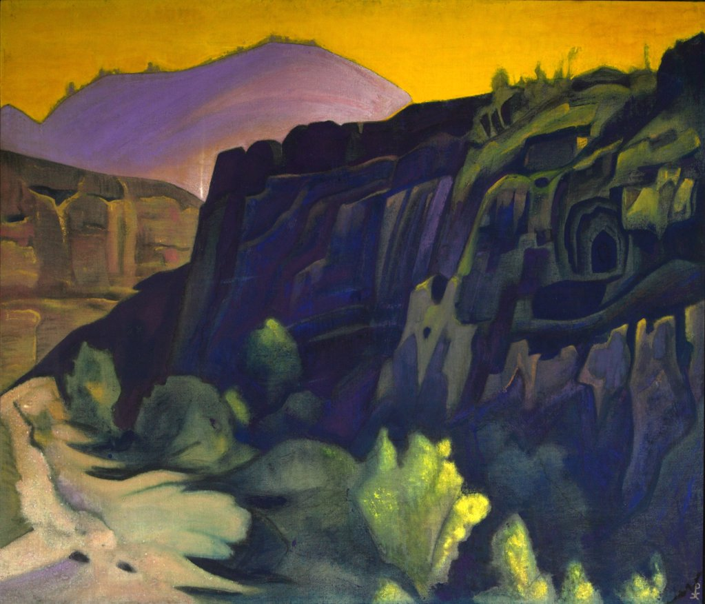 Roerich, Nicholas (1874-1947) International Centre of the Roerichs, Moscow 1938 91x124,5 Tempera on canvas Symbolism Russia  : Stock Photo