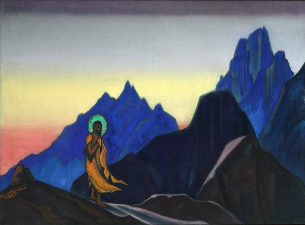 Stock Photo: 4266-2692 Roerich, Nicholas (1874-1947) International Centre of the Roerichs, Moscow 1943 76x122 Tempera on canvas Symbolism Russia Mythology, Allegory and Literature
