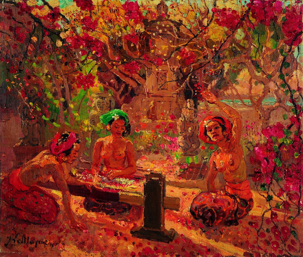 Stock Photo: 4266-26997 Three Balinese women in the garden by Le Mayeur de Merpres, Adrien-Jean (1880-1958) \ Private Collection \ Belgium \ Oil on canvas \ Painting \ Landscape,Genre