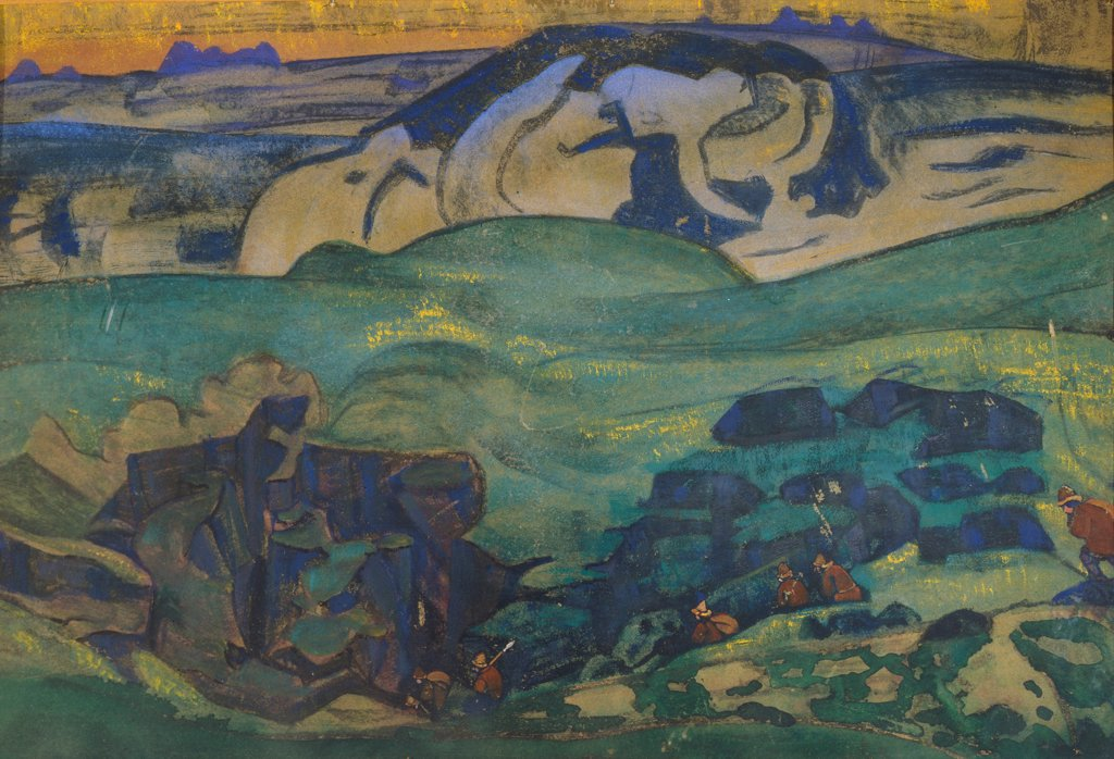 Stock Photo: 4266-27032 Tchud tribe gone underground by Roerich, Nicholas (1874-1947) \ State Open-air Museum of History and Architecture Novgorodian Kremlin, Novgorod \ 1913 \ Russia \ Tempera on canvas \ Painting \ Mythology, Allegory and Literature