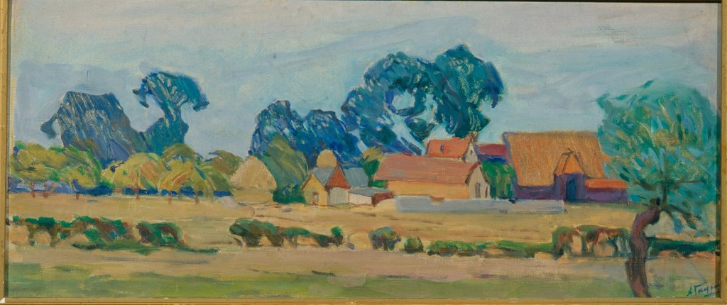 A Farm in England by Gaush, Alexander Fyodorovich (1873-1947) \ State Tretyakov Gallery, Moscow \ Russia \ Oil on canvas \ Painting \ Landscape : Stock Photo