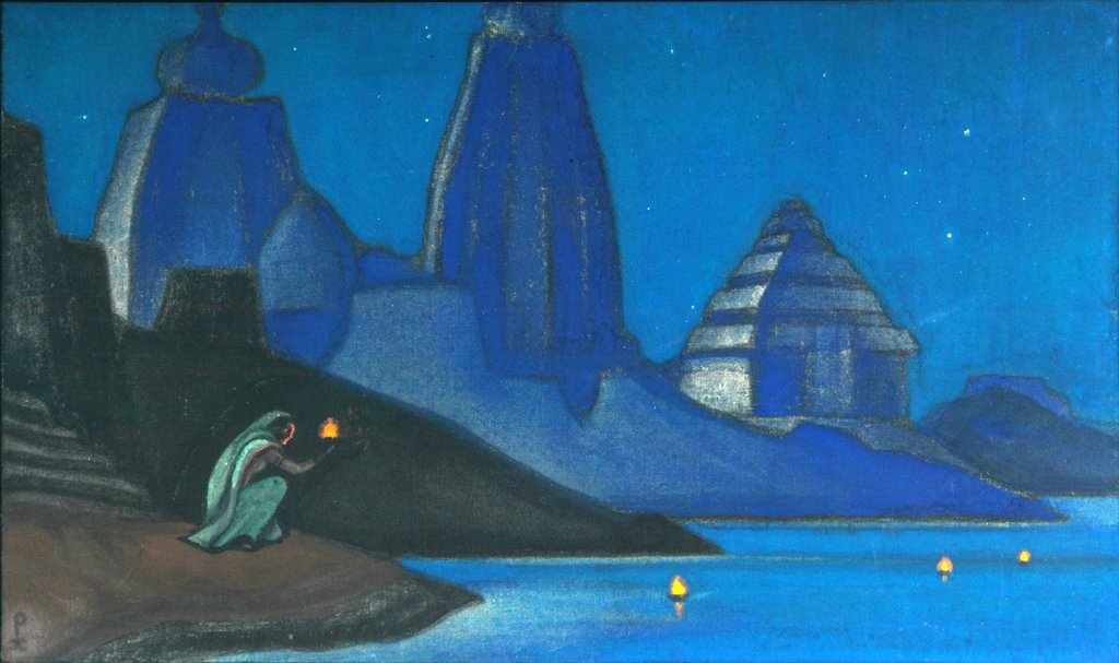 Roerich, Nicholas (1874-1947) International Centre of the Roerichs, Moscow 1947 47x80 Tempera on canvas Symbolism Russia Mythology, Allegory and Literature  : Stock Photo