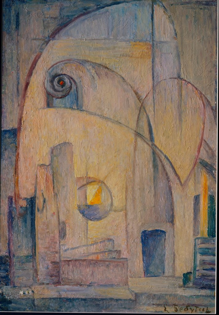 Stock Photo: 4266-27057 The Laboratory by Bebutova, Yelena Mikhailovna (1892-1970) \ Private Collection \ 1920s \ Russia \ Oil on cardboard \ Painting \ Architecture, Interior,Mythology, Allegory and Literature