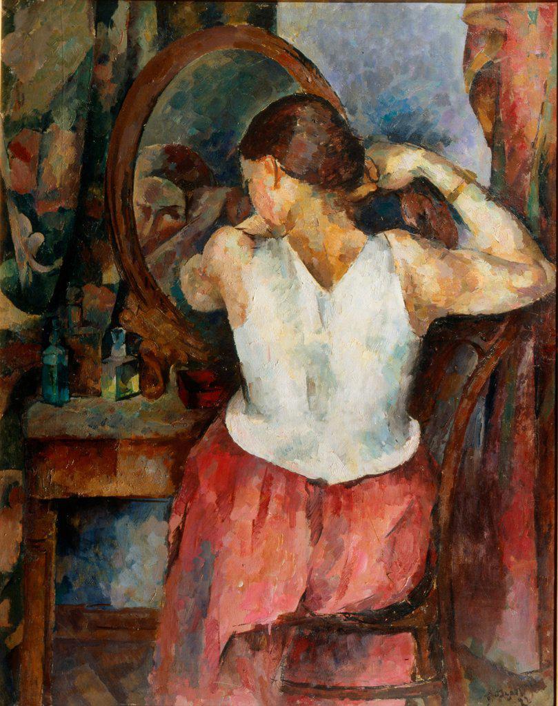 Woman before the mirror by Fyodorov, German Vasilyevich (1885-1976) \ F. Kovalenko Museum of Art, Krasnodar \ 1922 \ Russia \ Oil on canvas \ Painting \ Genre : Stock Photo