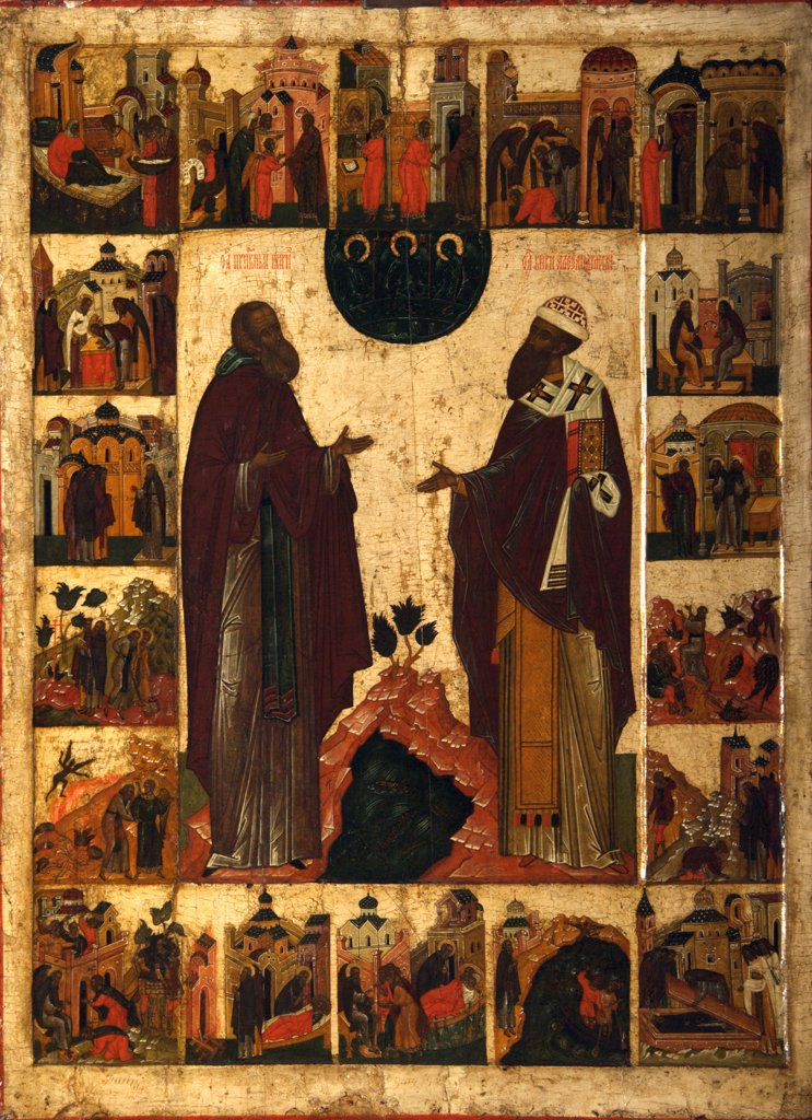 Russian icon with St Cyril and St Methodius, tempera on panel, 16th century, Moscow School, Russia, Moscow, State Tretyakov Gallery, 98x75 : Stock Photo