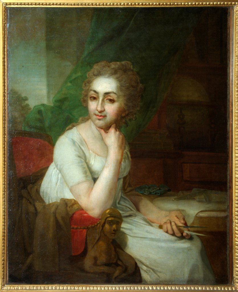 Portrait of an Unknown Woman with Compass in her Hand (Praskovia Golitsyna?) by Borovikovsky, Vladimir Lukich (1757-1825) / State Tretyakov Gallery, Moscow / Neoclassicism /  / Russia / Oil on canvas / Portrait / 87,3x68,5 : Stock Photo