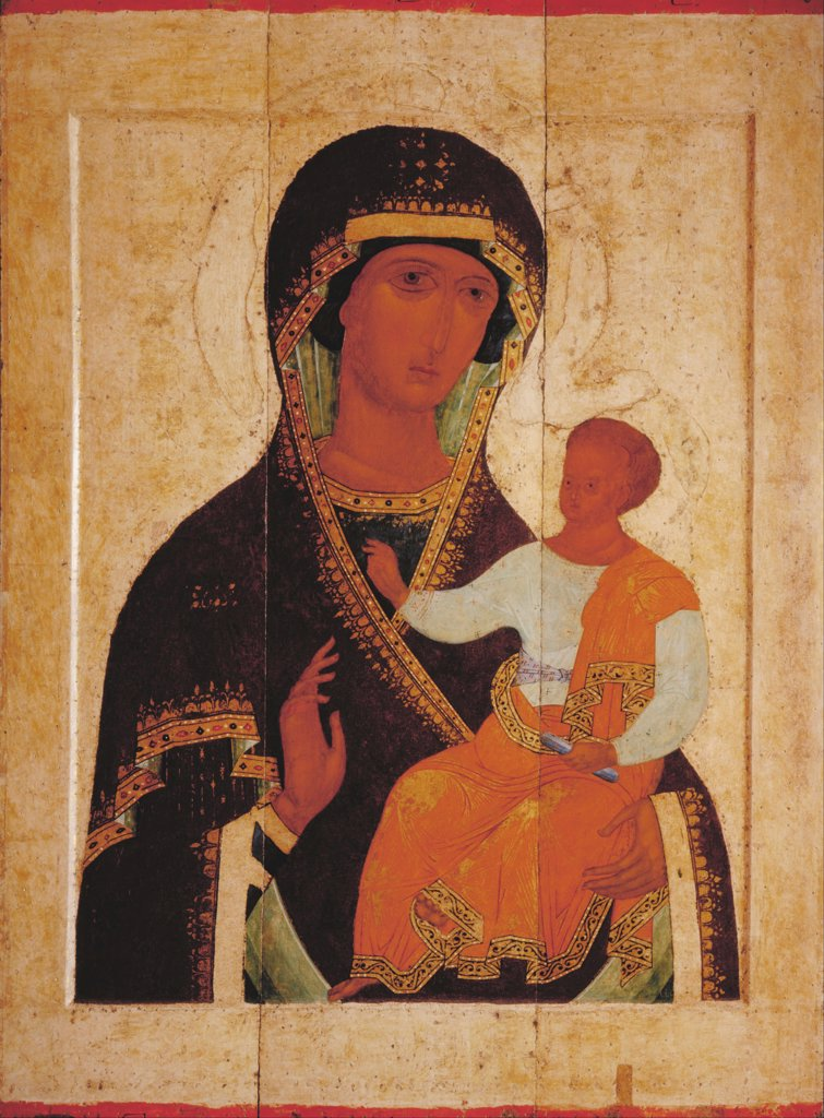 Icon of the Virgin Hodegetria by Dionysius (ca. 1450-before 1508) / State Russian Museum, St. Petersburg / Russian icon painting / c. 1502-1503 / Russia / Tempera on panel / Bible / 141x105,7 : Stock Photo