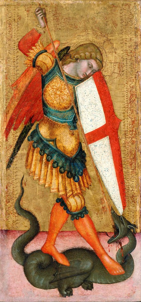 Stock Photo: 4266-27438 Saint Michael and the Dragon by Anonymous   / National Museum of Western Art, Tokyo / Gothic / 14th century / Italy, School of Siena / Tempera on panel / Bible / 40,5x19
