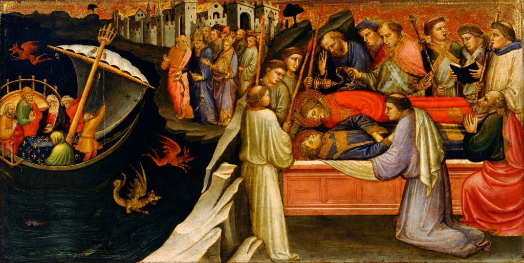 Predella Panel Representing Scenes from the Legend of Saint Stephen by Mariotto di Nardo (active 1394-1424) / National Museum of Western Art, Tokyo / Renaissance / 1408 / Italy / Tempera on panel / Bible / 29,6x57,5 : Stock Photo