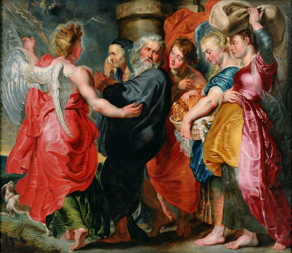 The Flight of Lot and His Family from Sodom (after Rubens) by Jordaens, Jacob (1593-1678) / National Museum of Western Art, Tokyo / Baroque / c. 1618 / Flanders / Oil on canvas / Bible / 169,5x199 : Stock Photo
