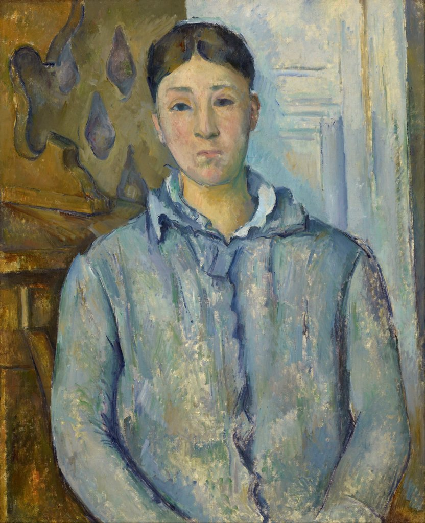 Madame Cezanne in Blue by Cezanne, Paul (1839-1906) / Museum of Fine Arts, Houston / Postimpressionism / 1890 / France / Oil on canvas / Portrait / 74x61 : Stock Photo