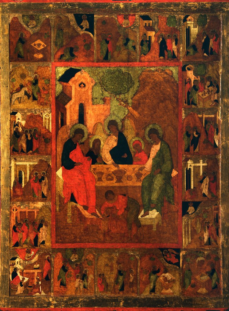 Stock Photo: 4266-2750 Hospitality of Abraham by unknown painter, tempera on panel, 16th century, Russia, Moscow, State Tretyakov Gallery