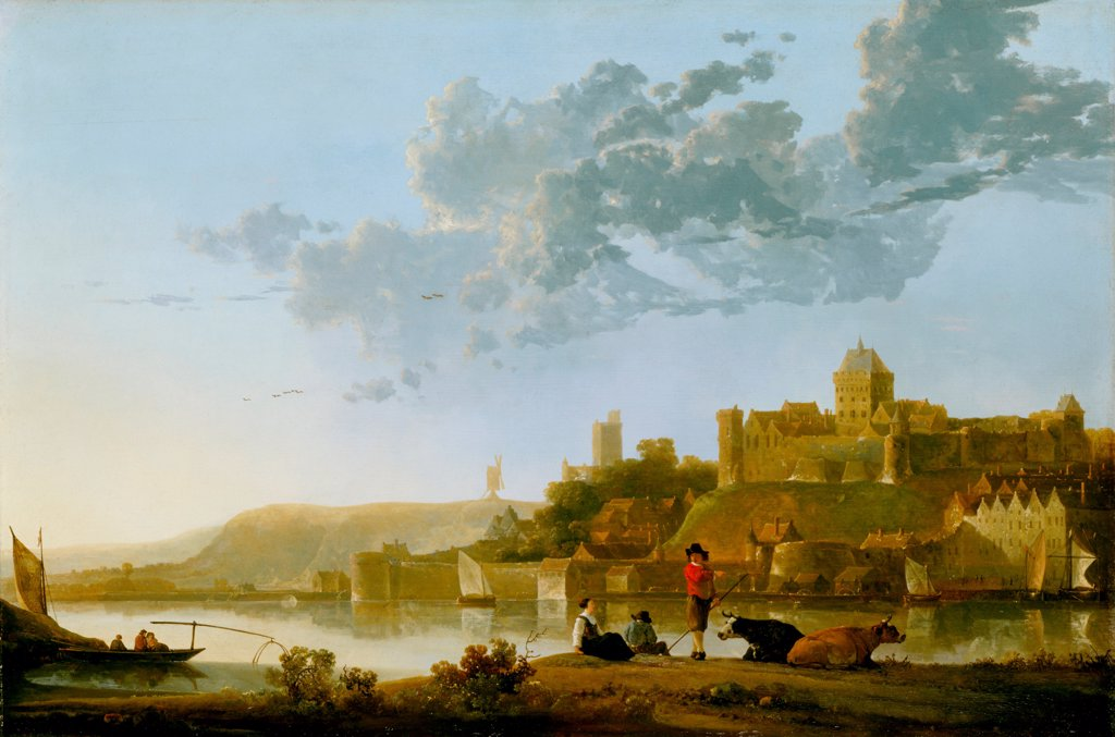 The Valkhof at Nijmegen by Cuyp, Aelbert (1620-1691) / Indianapolis Museum of Art / Baroque / 1652-1654 / Holland / Oil on wood / Landscape / 48,9x73,7 : Stock Photo