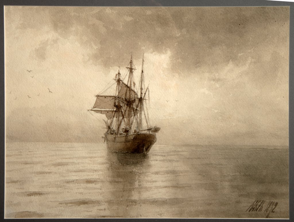 Stock Photo: 4266-27547 Sailing ship by Lagorio, Lev Felixovich (1827-1905) / Regional A. Deineka Art Gallery, Kursk / Realism / 1892 / Russia / Watercolour on paper / Landscape / 34,3x45,4