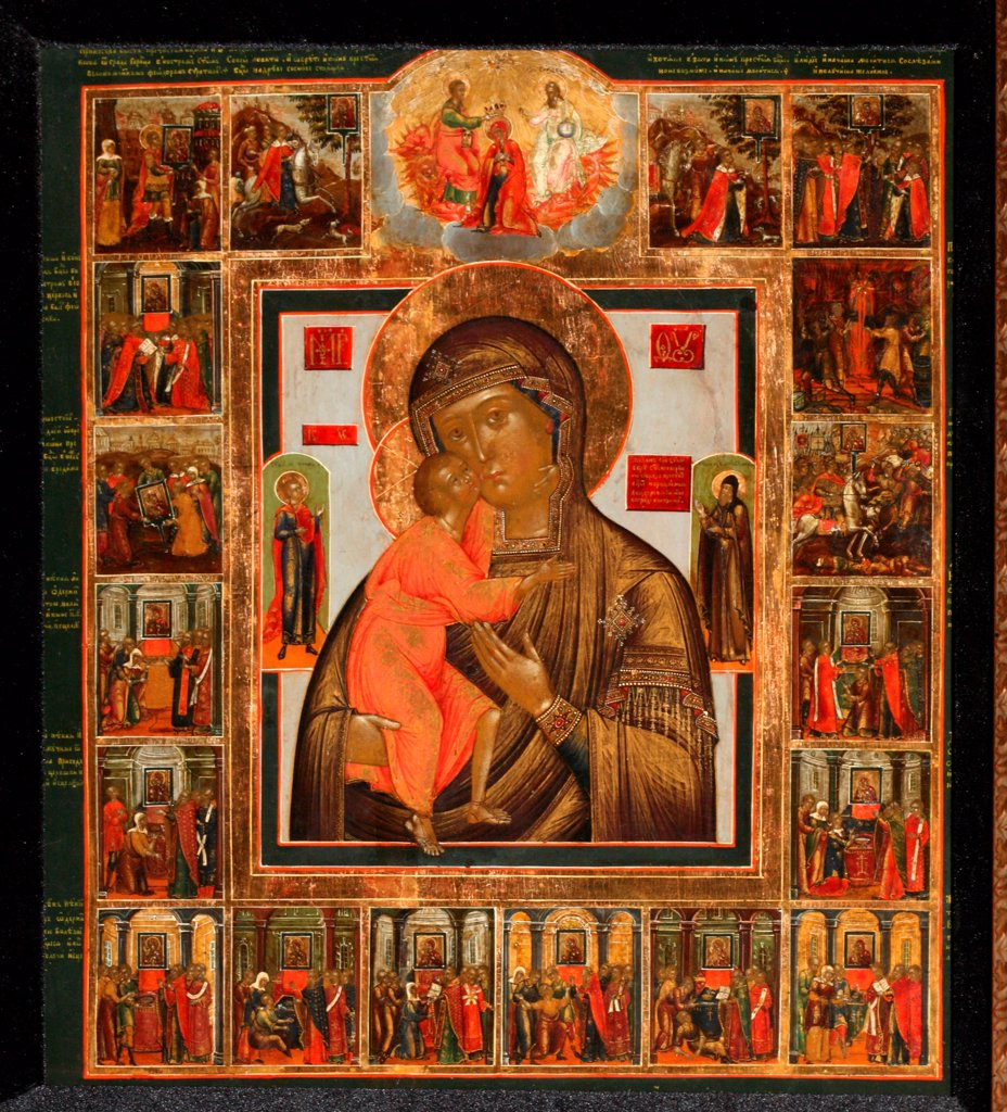 The Feodorovskaya Mother of God with the Wonders by Russian icon   / Private Collection / Russian icon painting / Mid of the 19th cen. / Russia, School of Kostroma / Tempera on panel / Bible / : Stock Photo