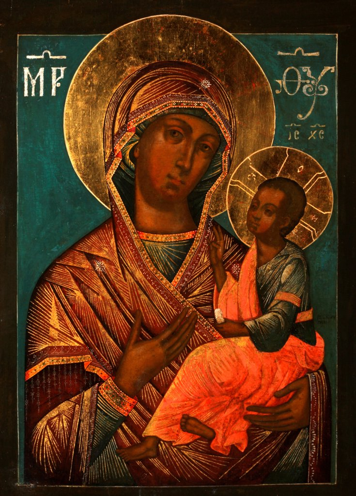 Stock Photo: 4266-27691 The Virgin Hodegetria by Grek, Yegor Ivanovich (active 1720s) / Private Collection / Russian icon painting / Early 18th cen. / Russia, Moscow School / Tempera on panel / Bible /