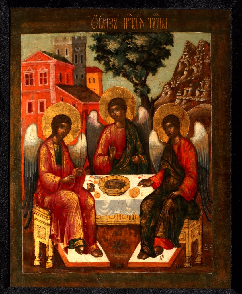 Stock Photo: 4266-27720 The Holy Trinity by Ulanov, Cornili (Kirill) (?-1731) / Private Collection / Russian icon painting / 1721 / Russia, Moscow School / Tempera on panel / Bible /