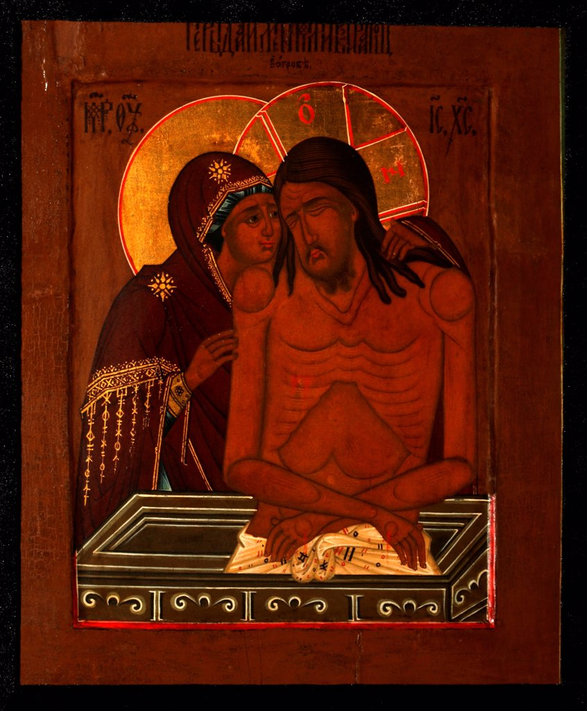 Stock Photo: 4266-27737 The Lamentation over the Dead Christ by Russian icon   / Private Collection / Russian icon painting / End of 19th cen. / Russia, Moscow School / Tempera on panel / Bible /