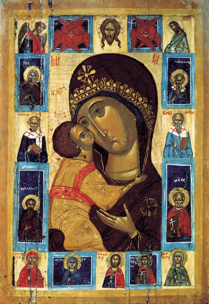 Russian icon, tempera on panel, 16th century, St. Petersburg, State Russian Museum, 69, 8x48, 2 : Stock Photo