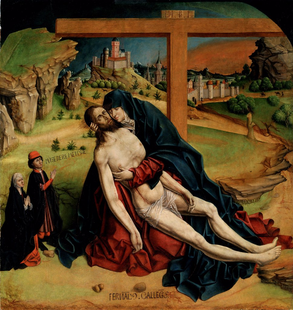 Stock Photo: 4266-27811 Pieta by Gallego, Fernando (c. 1440-1507) / Museo del Prado, Madrid / Gothic / 1465-1470 / Spain / Oil on wood / Bible / 118x111