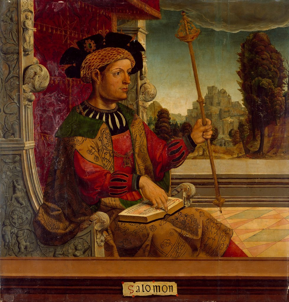 Stock Photo: 4266-27825 King Solomon by Maestro de Becerril (active Early 16th-century) / Museo del Prado, Madrid / Renaissance / c. 1525 / Spain / Oil on wood / Bible / 90,8x87,7
