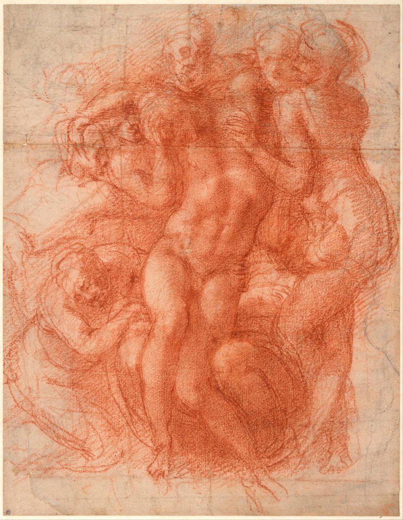 Lamentation by Buonarroti, Michelangelo (1475-1564) / Albertina, Vienna / Renaissance / ca 1530 / Italy, Florentine School / Black chalk and sanguine on paper / Bible / 32x24,9 : Stock Photo