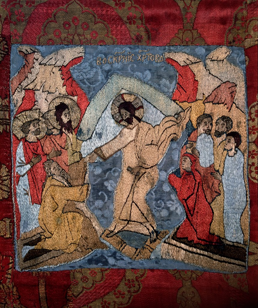 The Descent into Hell (Detail of a shroud) by Russian master   / State Open-air Museum of the Trinity Lavra of St. Sergius, Sergyev Possad / Old Russian Art / 15th century / Russia / Wool, silk, gold and silver threads / Bible,Objects / : Stock Photo