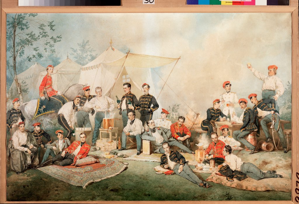 Hussar's Carouse by Zichy, Mihaly (1827-1906) / Regional Art Gallery, Vologda / Russian Painting of 19th cen. / 1873 / Hungary / Watercolour on paper / Genre / 65x94 : Stock Photo