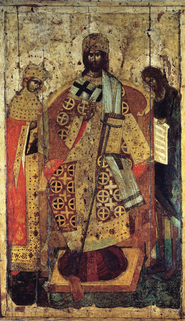 Christ Pantocrator by unknown painter, tempera on panel, 14th century, School of Karelia, Russia, Moscow, Cathedral of Dormition in Kremlin, 203x108 : Stock Photo