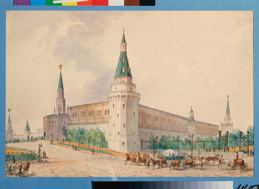 Stock Photo: 4266-28176 The Resurrection Square and the Alexander Garden in Moscow by Vivien, Joseph (1793-1852) / State History Museum, Moscow / Classicism /  / Poland / Watercolour on paper / Architecture, Interior / 24x36