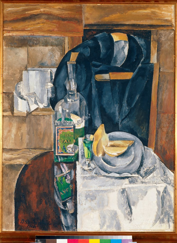 Stock Photo: 4266-28390 Still Life with Liqueur by Rozhdestvensky, Vasili Vasilyevich (1884-1963) / State Tretyakov Gallery, Moscow / Russian avant-garde / 1913 / Russia / Oil on canvas / Still Life / 85x65
