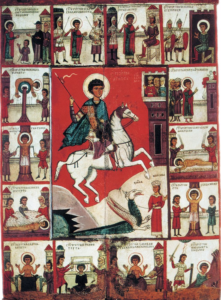 Stock Photo: 4266-2844 St George and dragon by unknown painter, tempera on panel, 14th century, Novgorod School, Russia, St Petersburg, State Russian Museum, 89x63